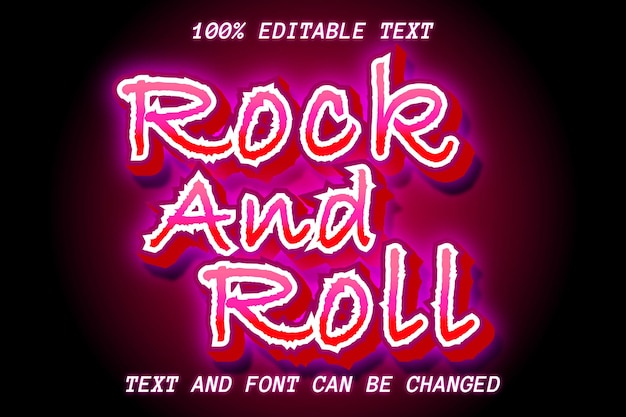 Estilo moderno de efeito de texto editável de rock and roll