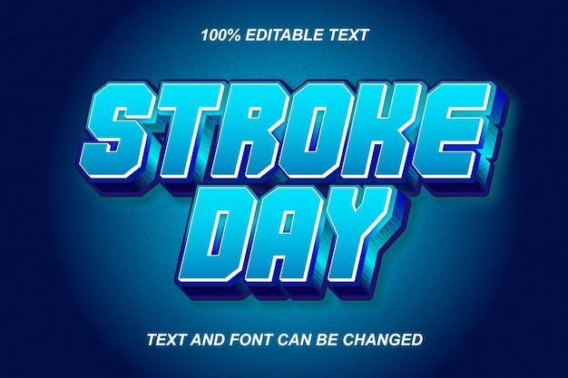 Estilo moderno de efeito de texto editável de stroke day