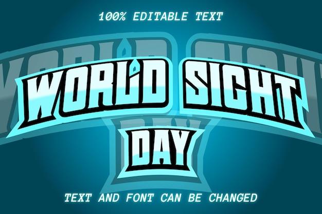 Estilo moderno de efeito de texto editável do dia mundial da visão