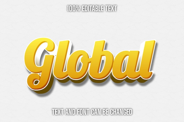 Estilo moderno de efeito de texto editável global