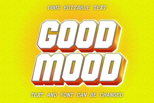 Estilo moderno de efeito de texto editável good mood