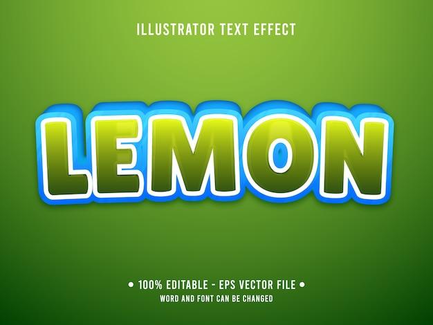 Estilo moderno de efeito de texto editável limão com cor verde gradiente