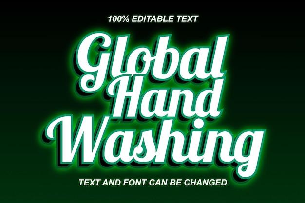 Estilo moderno de efeito de texto editável para lavagem de mãos global