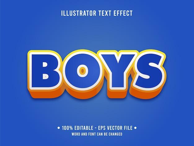 Estilo moderno de efeito de texto editável para meninos com cor azul