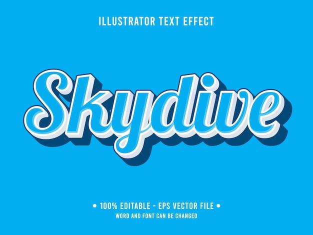 Estilo moderno de efeito de texto editável skydive