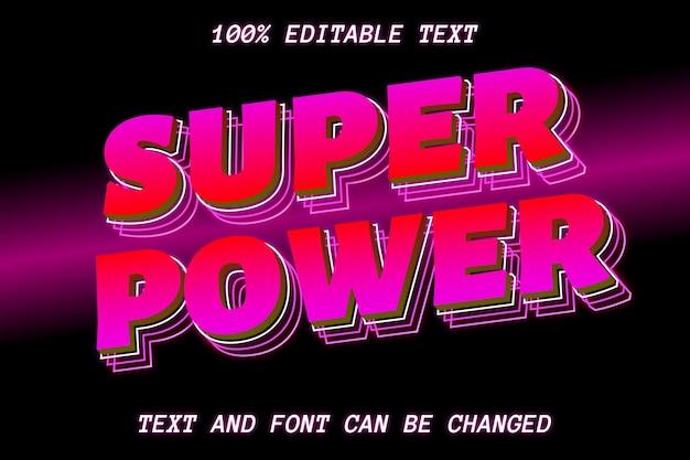 Estilo moderno de efeito de texto editável super power