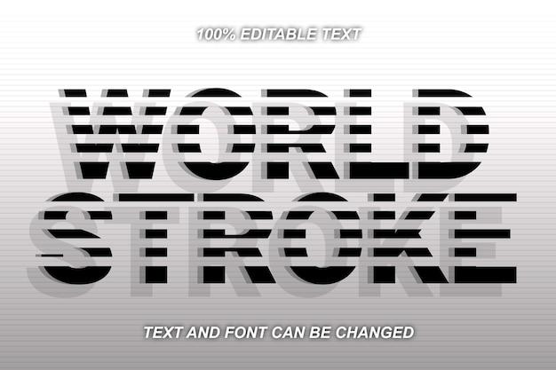 Estilo moderno de efeito de texto editável world stroke
