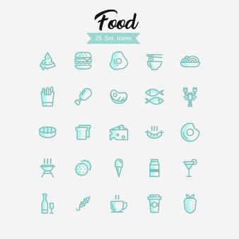 Estilo moderno de ícones de comida