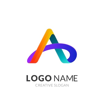 Estilo moderno de logotipo 3d em gradiente