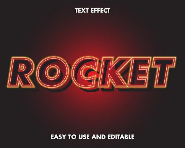 Estilo moderno do efeito de texto de néon de foguete.