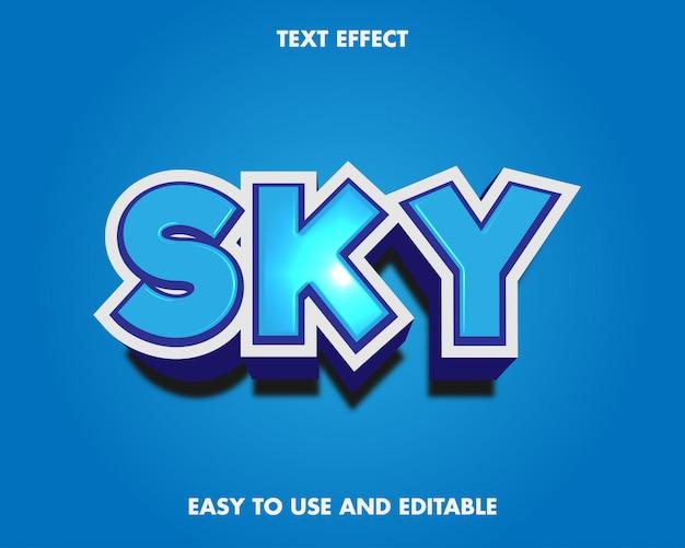 Estilo moderno do efeito de texto do céu.