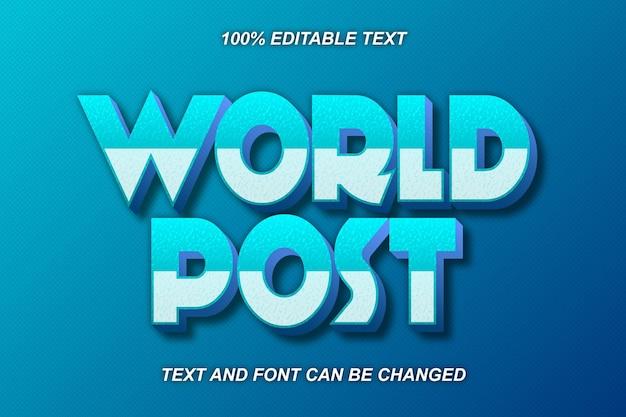 Estilo moderno do efeito de texto editável da world post