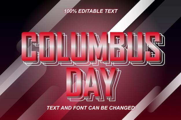Estilo moderno do efeito de texto editável do columbus days