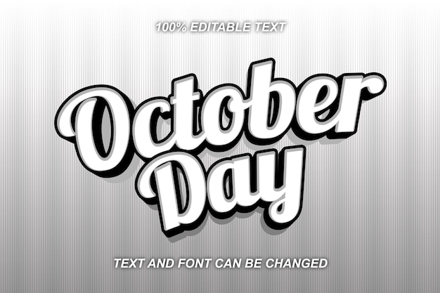 Estilo moderno do efeito de texto editável do dia de outubro