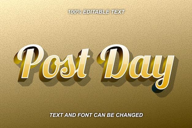 Estilo moderno do efeito de texto editável do post day