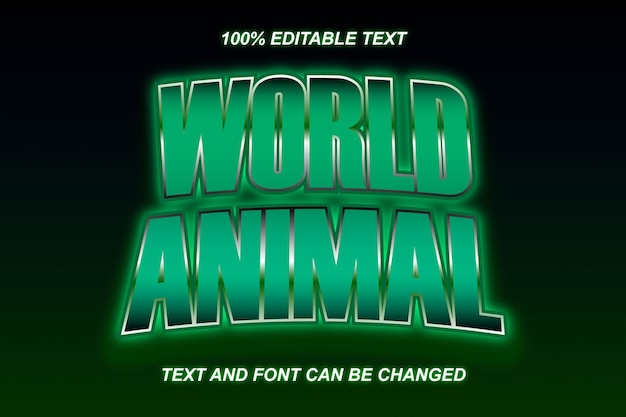 Estilo moderno do efeito de texto editável do world animal