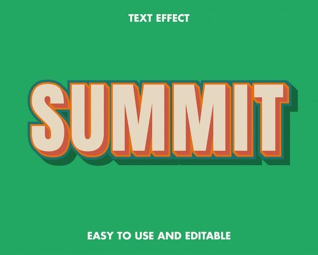 Estilo moderno do efeito de texto summit.