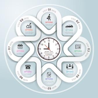 Estilo moderno do origâmi do círculo de infographics do negócio.