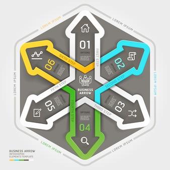 Estilo moderno do origâmi do círculo de negócio da seta.