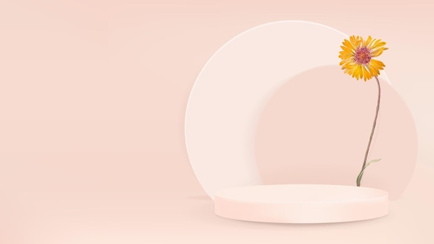 Estilo moderno do vetor do pano de fundo do produto 3d com pódio e flor amarela