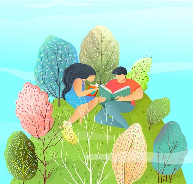 Estilo moderno menina e menino lendo um livro, estudando a leitura, isolada.