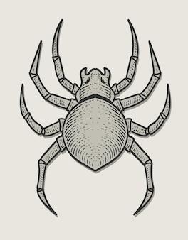 Estilo monocromático de gravura de aranha de ilustração