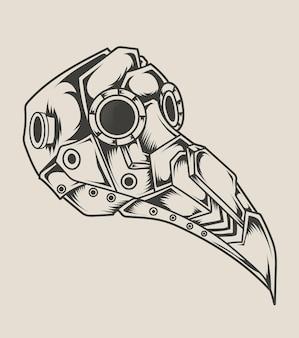 Estilo monocromático de máscara ciborgue de médico de praga de ilustração