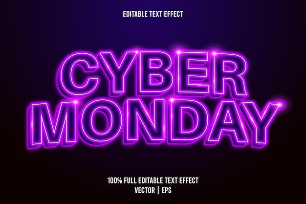 Estilo néon com efeito de texto editável cyber monday