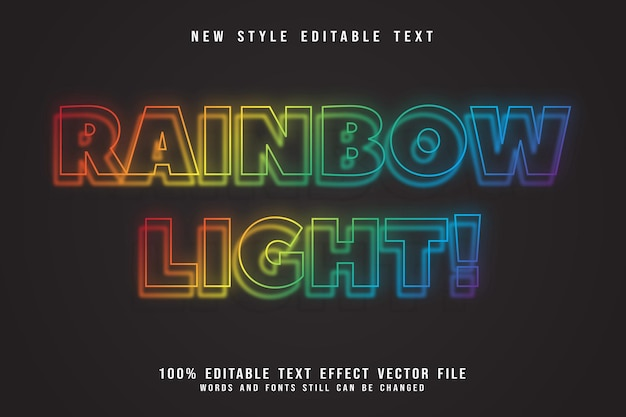 Estilo neon com efeito de texto editável de luz arco-íris