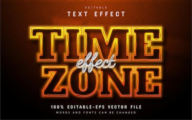 Estilo neon de efeito de texto de fuso horário