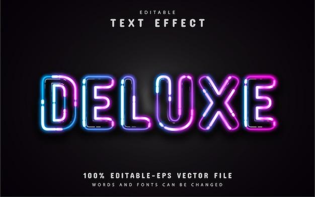 Estilo neon de efeito de texto deluxe