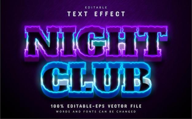 Estilo neon de efeito de texto em boate
