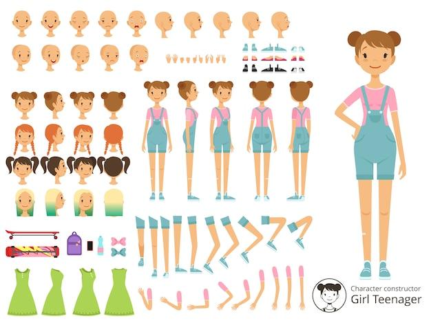 Estilo ocasional da menina do sorriso dos jovens. kit de criação de mascote com diferentes partes do corpo