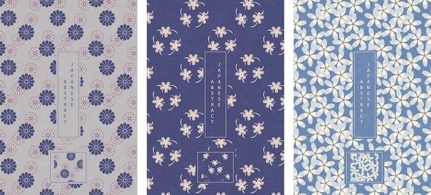Estilo oriental japonês abstrato sem costura padrão fundo projeto flor do jardim botânico