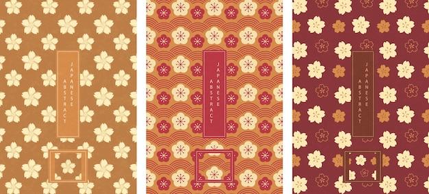 Estilo oriental japonês abstrato sem costura padrão fundo projeto flor flor de ameixa e flor de cerejeira sakura
