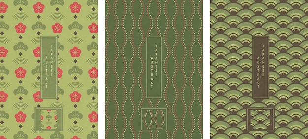 Estilo oriental japonês abstrato sem costura padrão fundo projeto onda verde escala de linha de pontos e flor de ameixa
