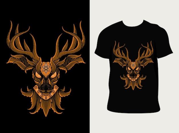 Estilo ornamento de cabeça de veado com design de camiseta