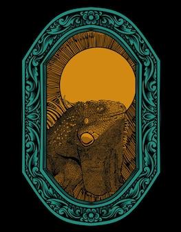 Estilo ornamento de gravura iguana