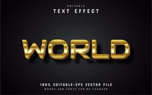 Estilo ouro de efeito de texto mundial