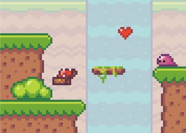 Estilo pixel art, jogo com coração perto da cachoeira, baú de madeira e inimigo alienígena
