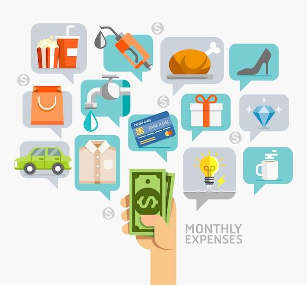Estilo plano conceitual de despesas mensais