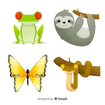 Estilo plano de coleção de animais exóticos