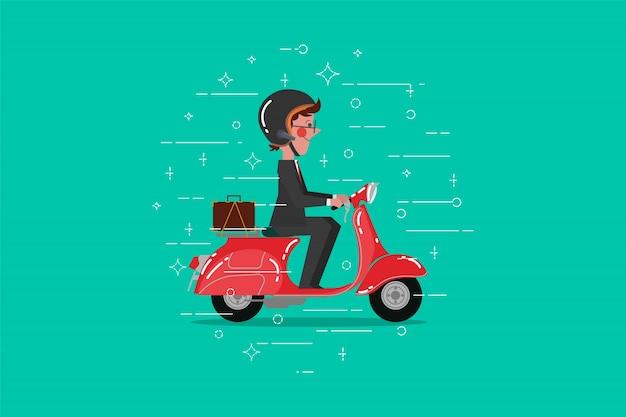 Estilo plano de design de desenho animado. homem de negócios andando scooter retro