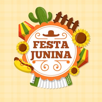 Estilo plano de evento festival de junho