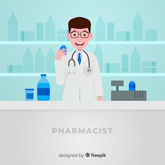 Estilo plano de fundo de conceito de farmácia