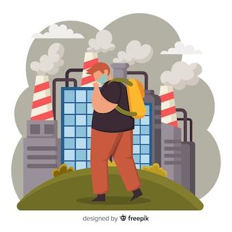 Estilo plano de fundo de conceito de poluição
