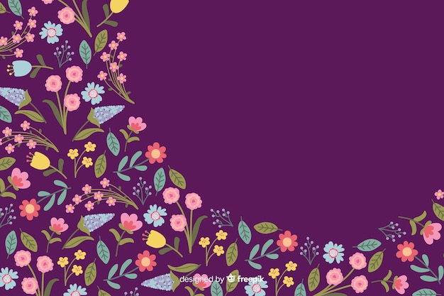Estilo plano de fundo de flores coloridas