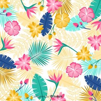 Estilo plano de fundo de flores tropicais
