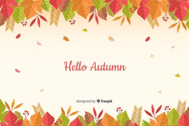 Estilo plano de fundo de folhas de outono