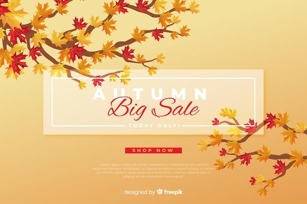 Estilo plano de fundo de vendas outono